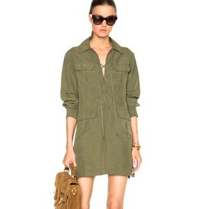 New Smythe olive lace up tunic safari dress S